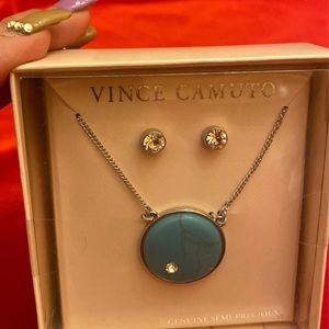 Vince Camuto Semi Precious Stone Necklace Crystals